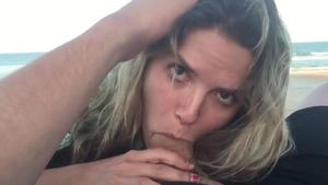Amateur Blonde Girlfriend gives perfect Blowjob, fucks on the Beach and facial
